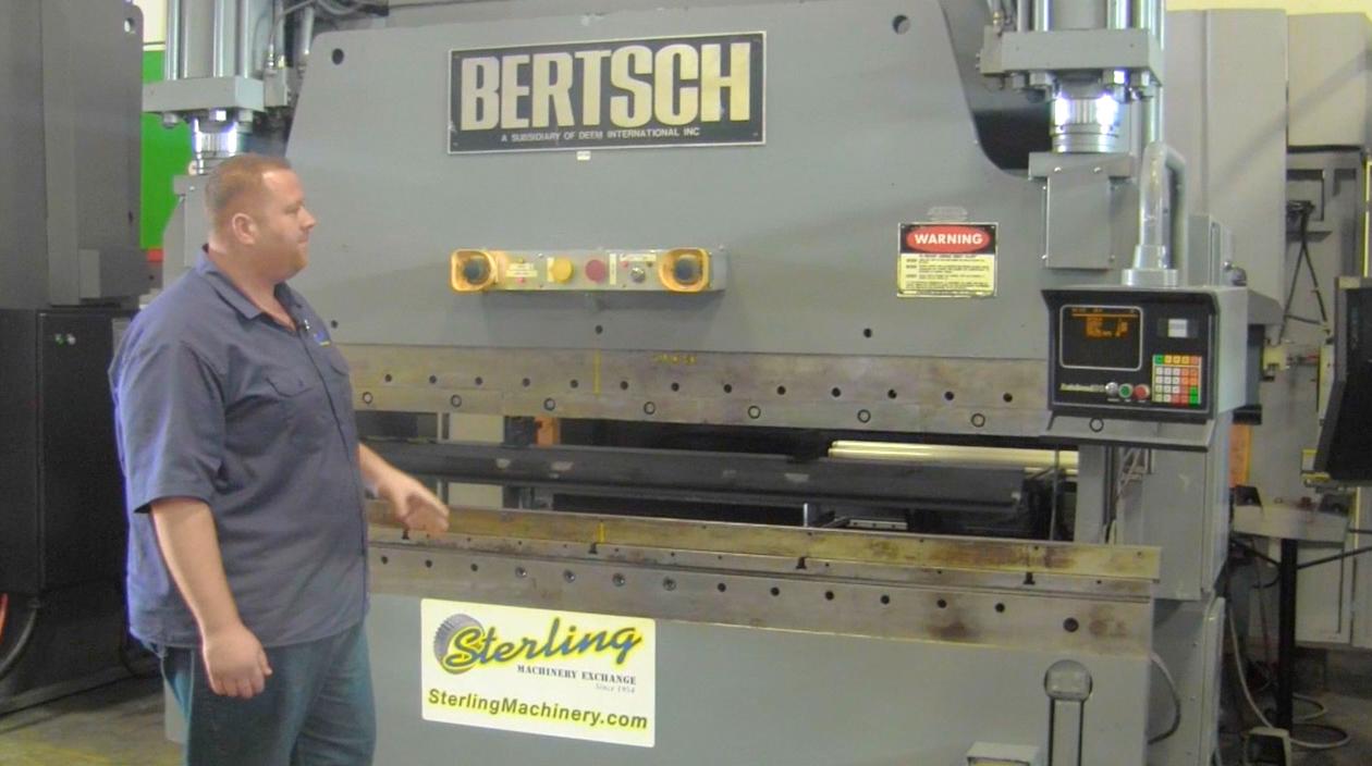 175 Ton x 10' Used Bertsch Hydraulic CNC Press Brake, Mdl. 175-10, Hurco  Autobend 5C, 2 Axis CNC Control, Dual Palm Control on Ram, Foot Pedal,  #A4199